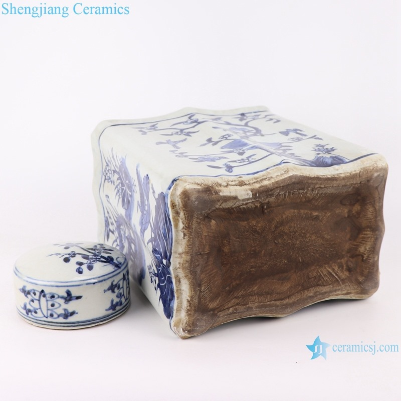 RZKJ02-C Blue and white rectangular peach flat jar