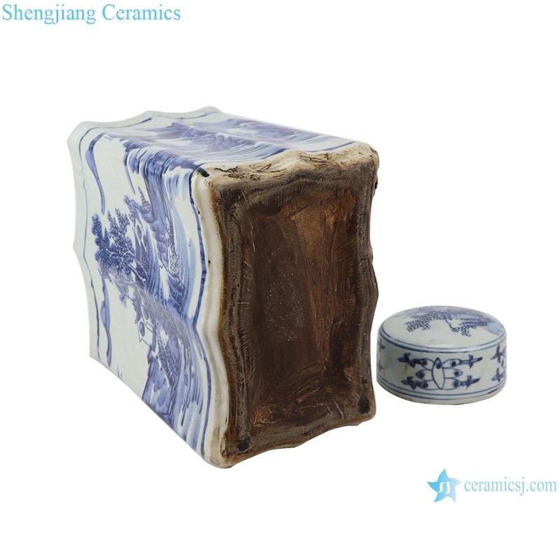 RZKJ02-D Blue and white rectangular landscape flat pot