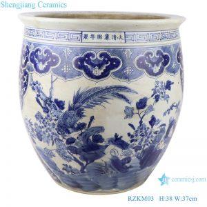 RZKM03 Blue and white imitation of the Qing Dynasty Kangxi year flower and bird aquarium aquarium water tank