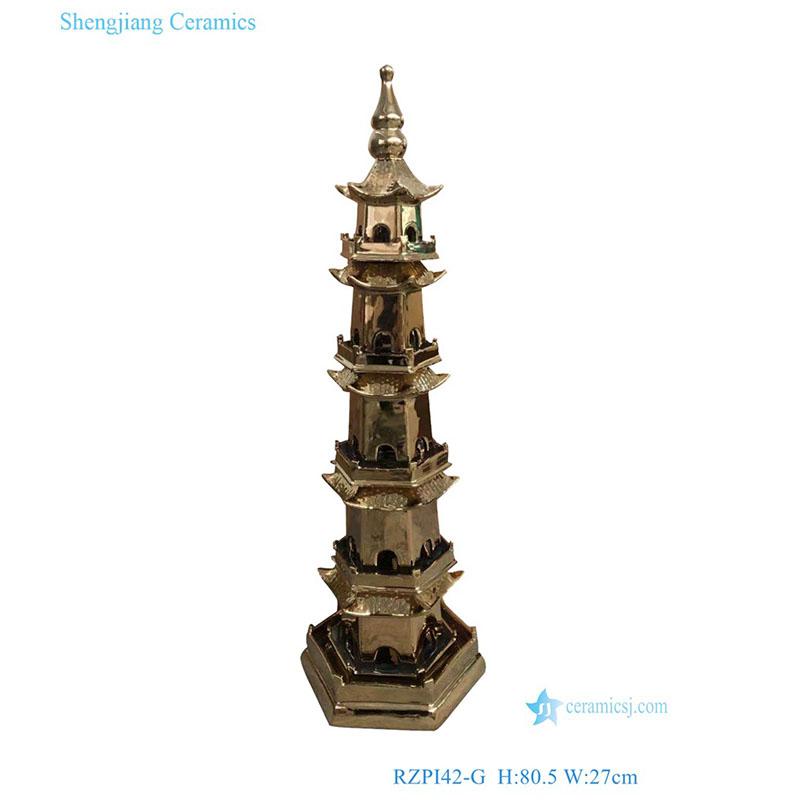 RZPI42-G gold plating ceramic decorative pagoda