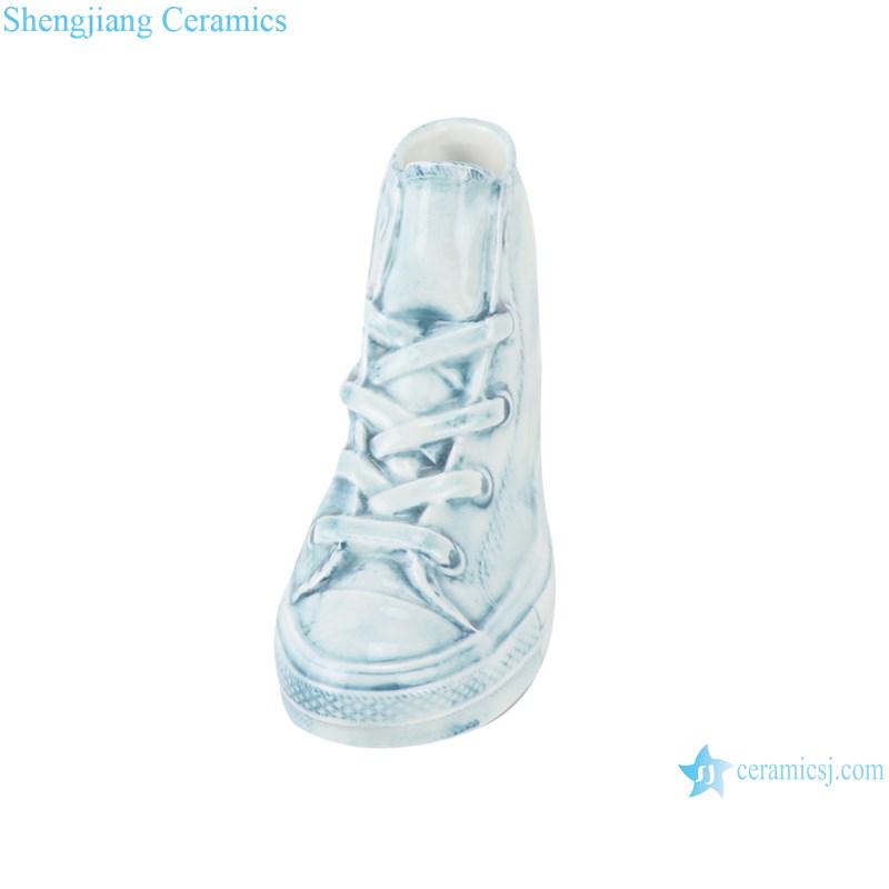 RZQU06 Colour glaze engraving denim straight tube small ceramic shoes for decoration-profile