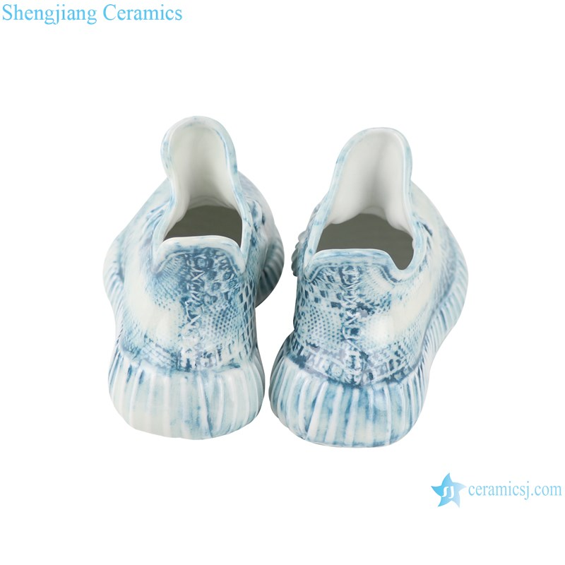 RZQU07 Color glaze engraving denim plaid zipper grain small ceramic shoes for decoration-profile-back view