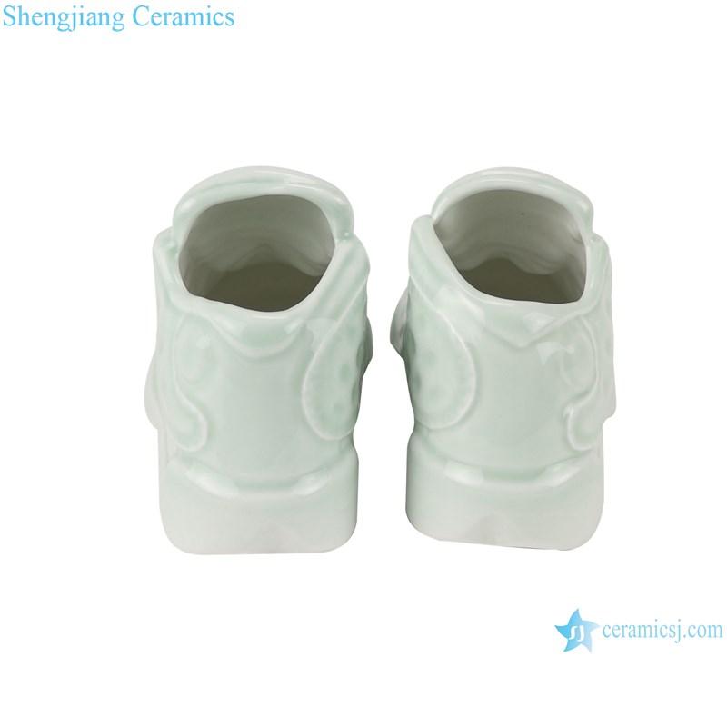 RZQU08 Color glaze green glaze engraving small size ceramic shoes for decoration-back view