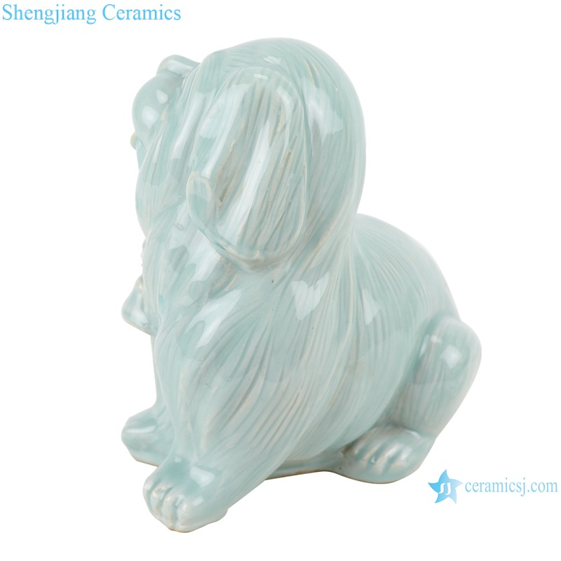 RZQW08 china traditional Color Glaze Shadow misty blue Dog Sculpture