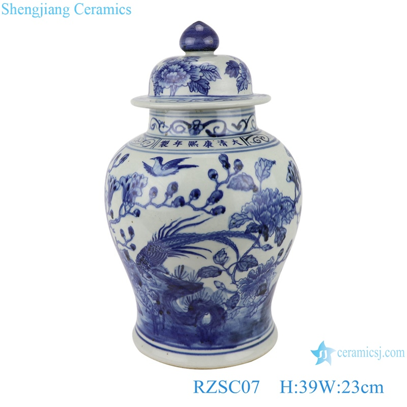 RZSC07 Jingdezhen blue and white ceramic ginger jar for home decoration