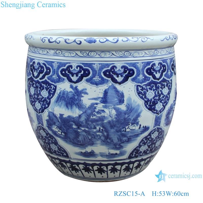 RZSC15-A Blue and white landscape design ceramic big pots