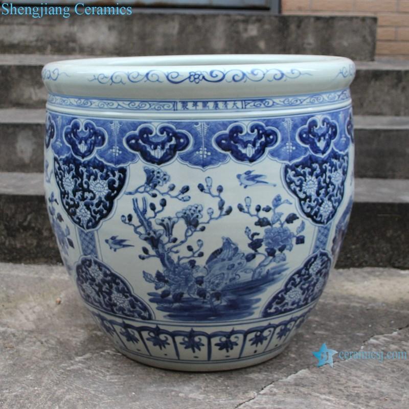 RZSC15-B Blue and white flower and bird design ceramic big pots-profile