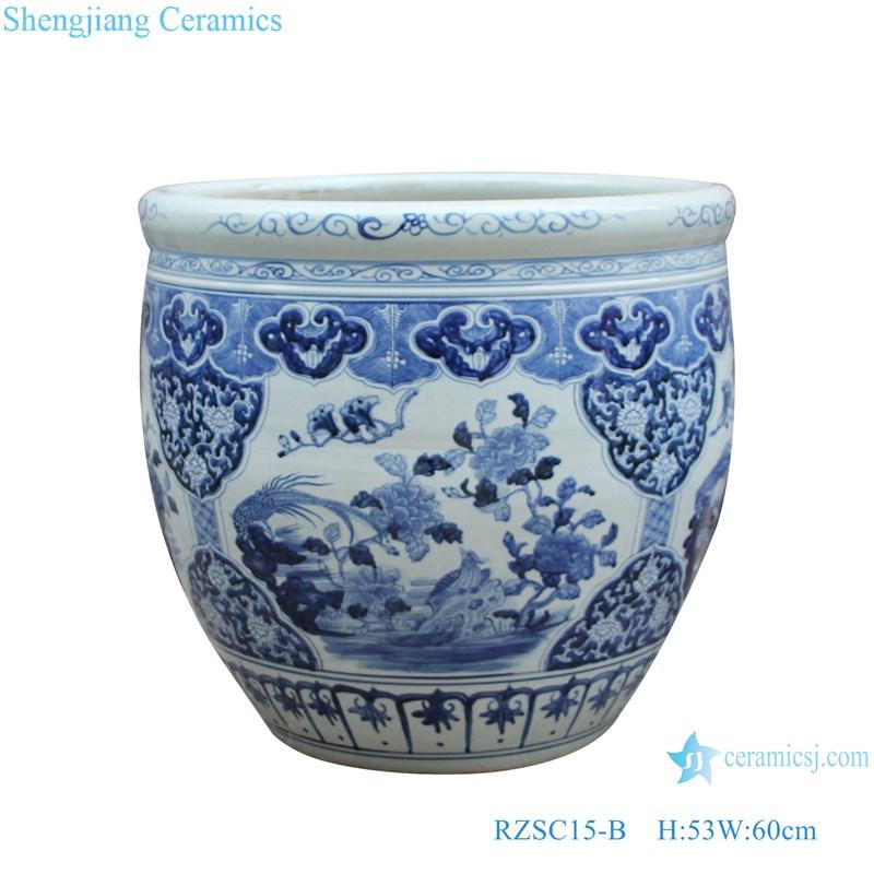 RZSC15-B Blue and white flower and bird design ceramic big pots-main figure