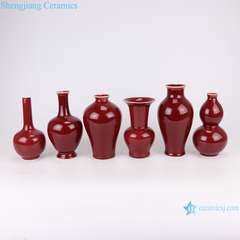 RZSK03 red glaze fishtail vase