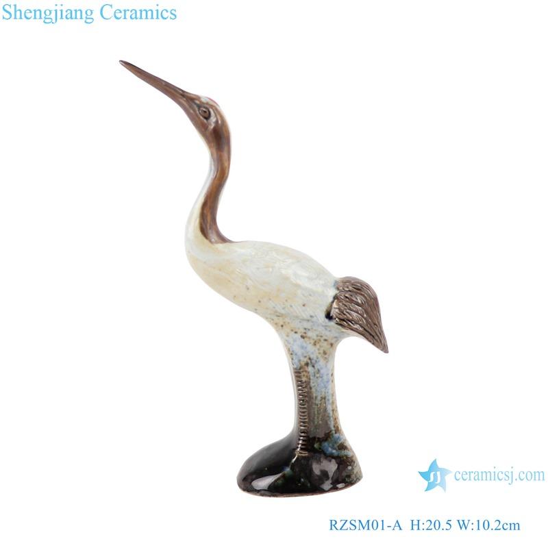 RZSM01-A Colorful glaze kiln changed glaze carving sculpture single feather crane