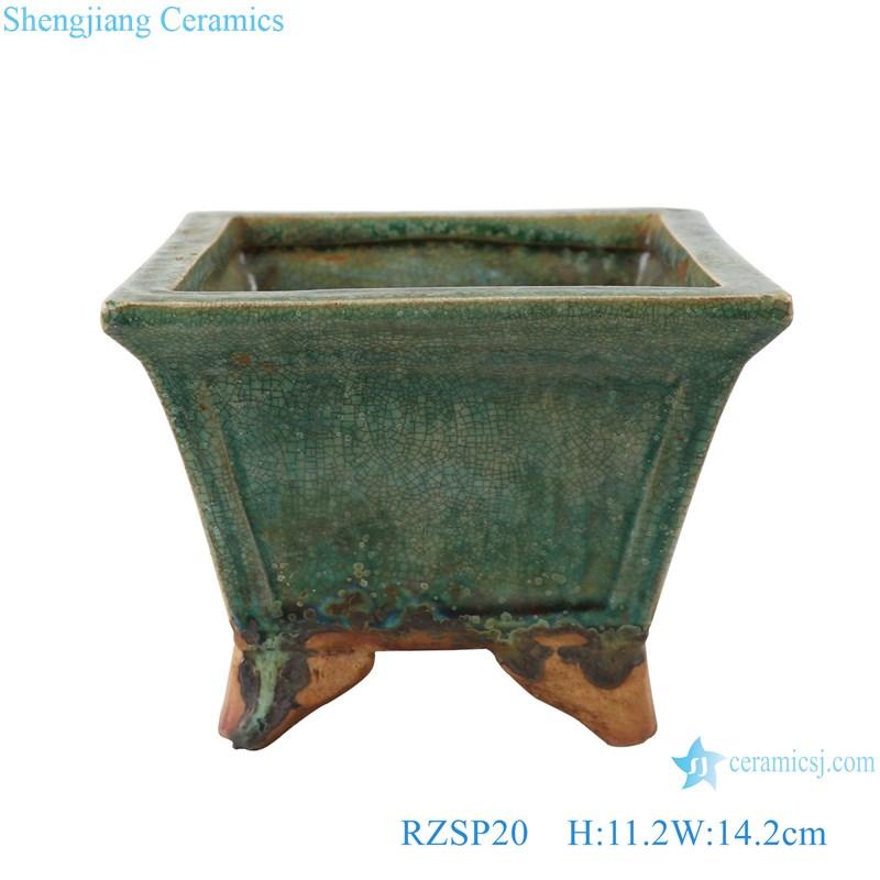 RZSP20 Plain green glazed ceramics coarse pottery retro mage fleshy plant pot ware large diameter flower planters