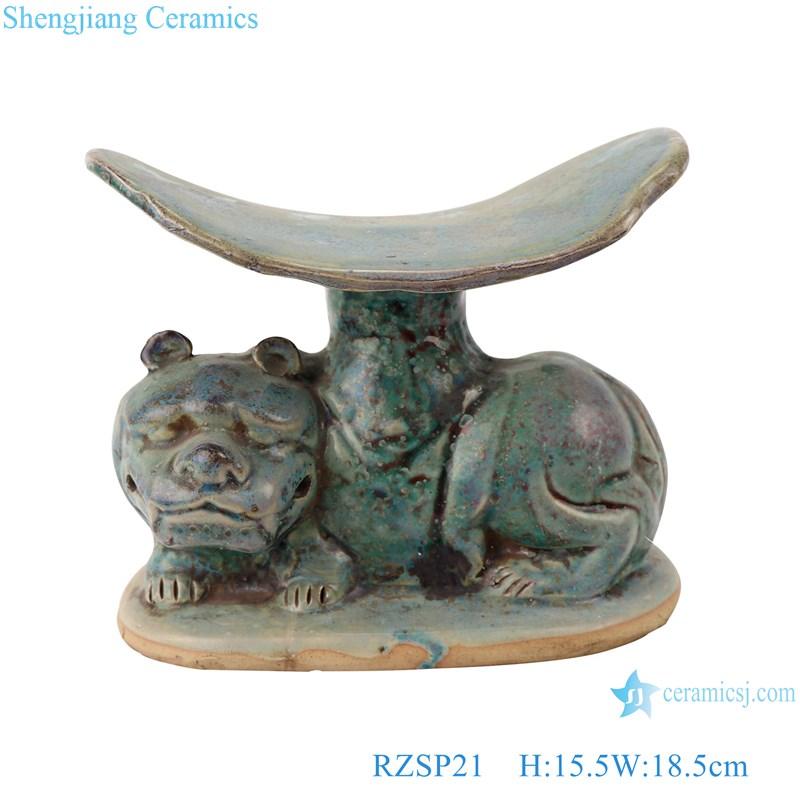 RZSP21 Antique green glazed porcelain Lion ceramic pillow for home decor