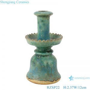 RZSP22Song dynasty people kiln longquan open piece glaze lotus candlestick a pair of antique do old porcelain collection