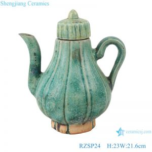 RZSP24 Qing Guangxu hand-made ceramic old wine pot, teapot, antique porcelain and ornaments collection