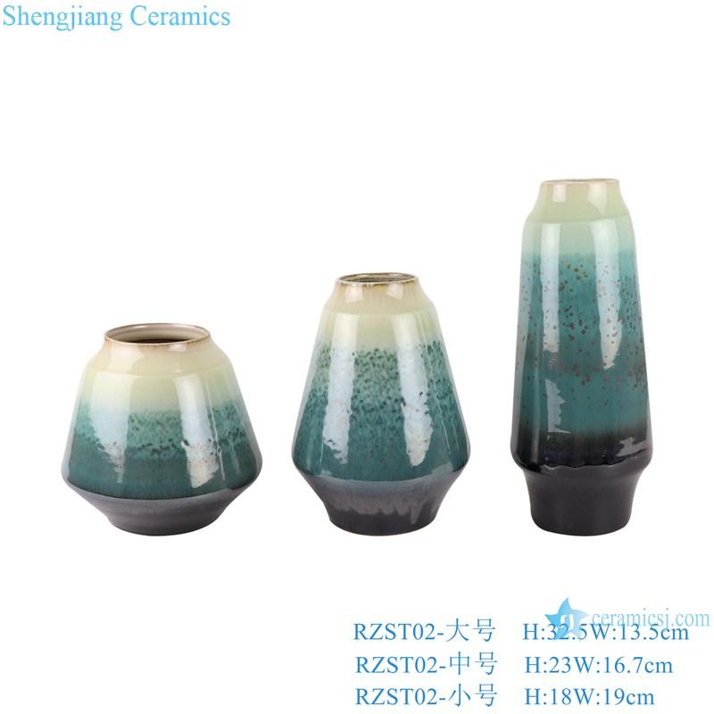 RZST02 Color glaze kiln glaze green glaze set of three large ceramic vases set