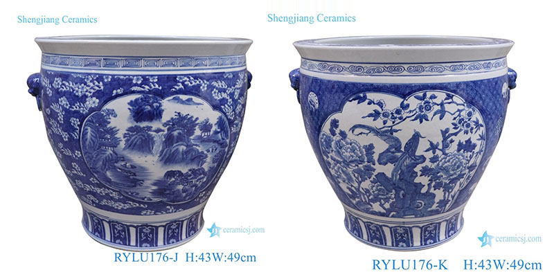 RYLU176-J Blue and white window open lion head landscape tank