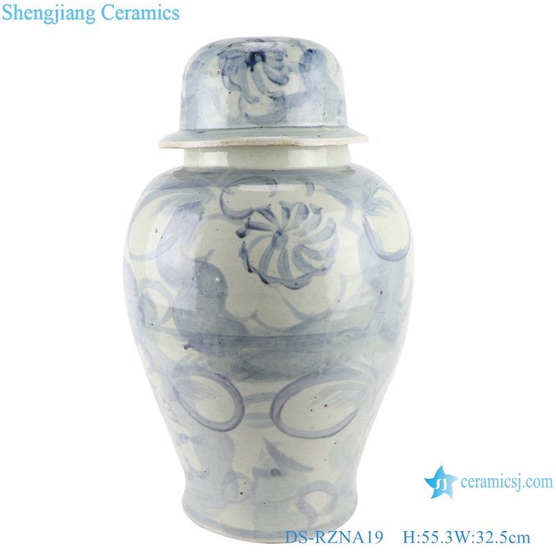 DS-RZNA19 Blue and white porcelain hand-painted Jingdezhen pure handmade large porcelain ceramic temple jar ginger jars