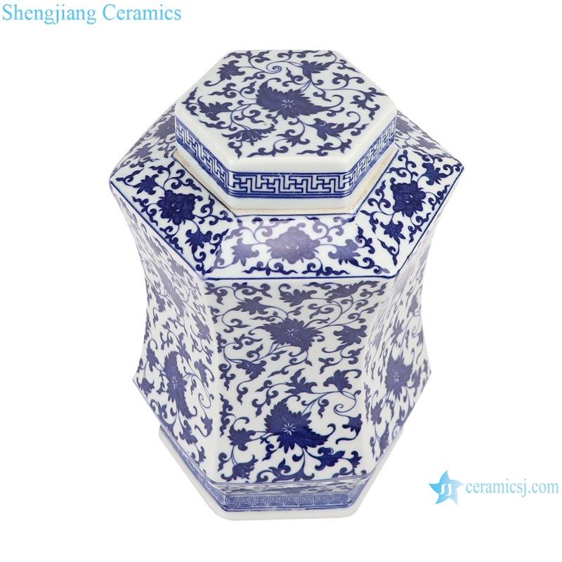 RYJF70 Blue and white ceramic hexagonal branch storage pot