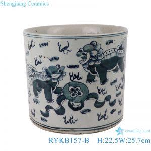 RYKB157-B Antique blue and white lion design multi-pattern ceramic pen holder
