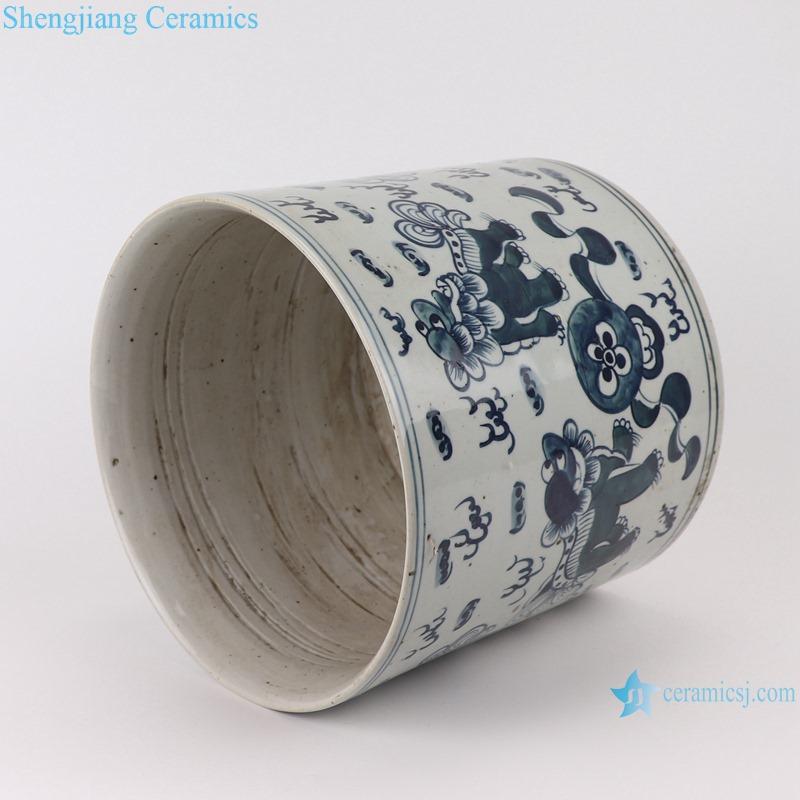 RYKB157-B Antique blue and white multi-pattern ceramic pen holder