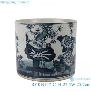 RYKB157-C Antique blue and white flower design multi-pattern ceramic pen holder