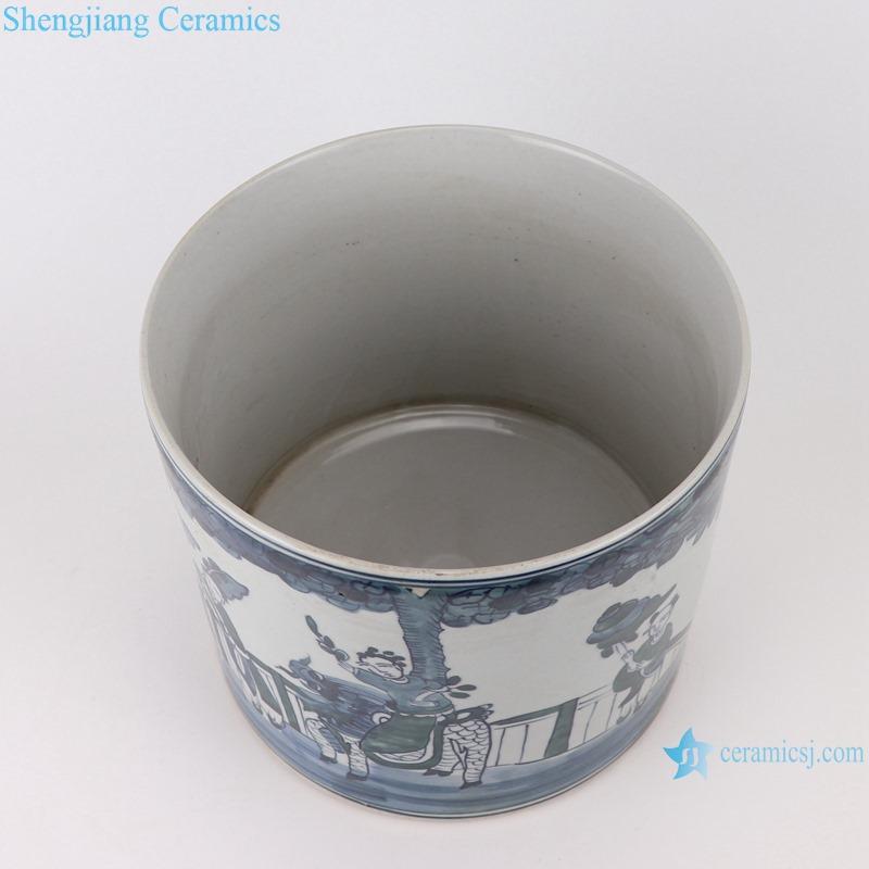 RYKB157-D Antique blue and white people design ceramic pen holder