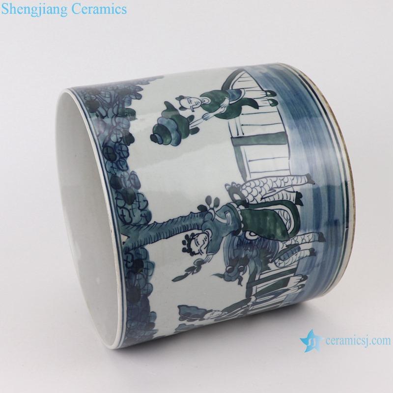 RYKB157-D Antique blue and white people design multi-pattern ceramic pen holder