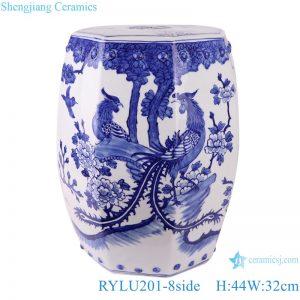 RYLU201-8side Handmade blue and white phoenix design parcelain chair stool