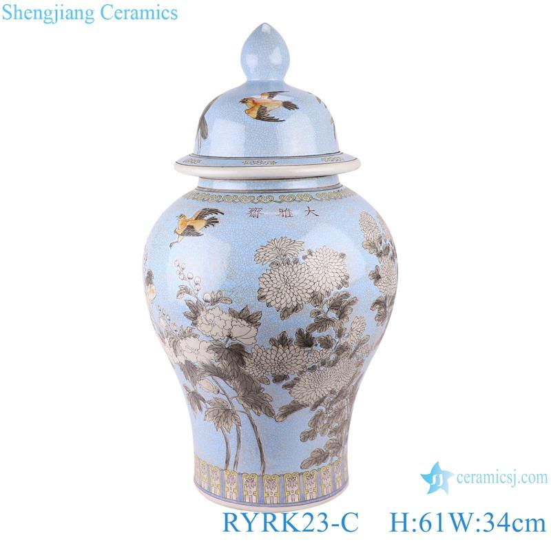 RYRK23-C Colour glaze multi-colored flower and bird pattern ginger jar