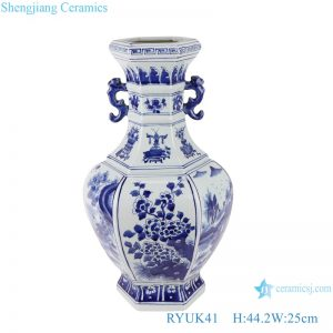 RYUK41 Blue and white flower pattern ceramic vase with ears and octagons