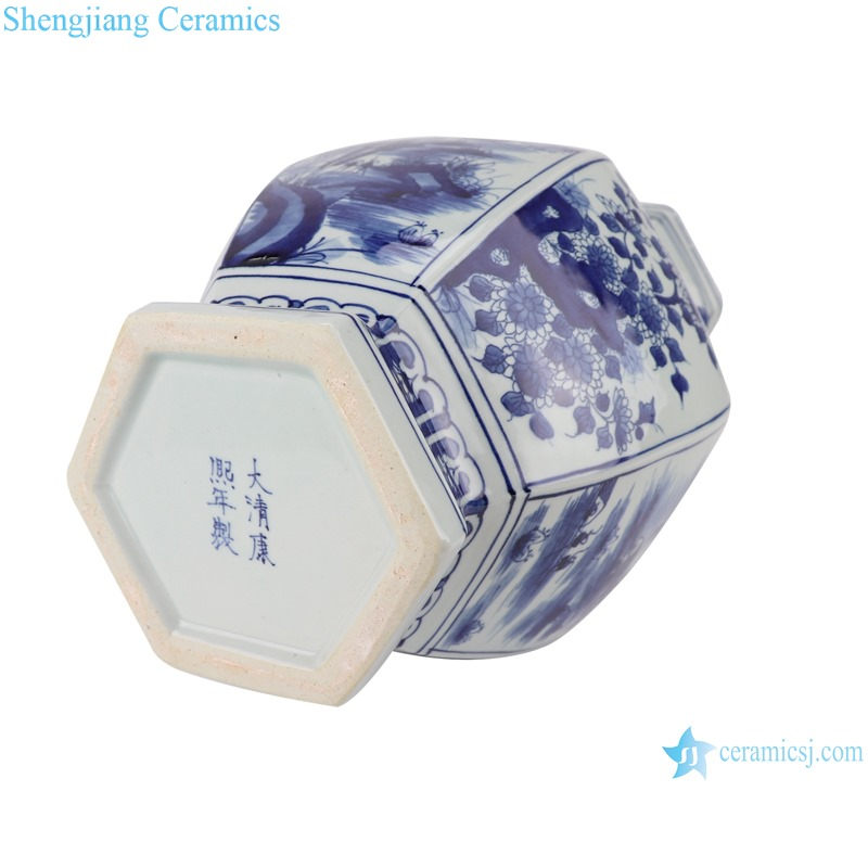 RYUK41 Blue and white flower ceramic vase with ears and octagons