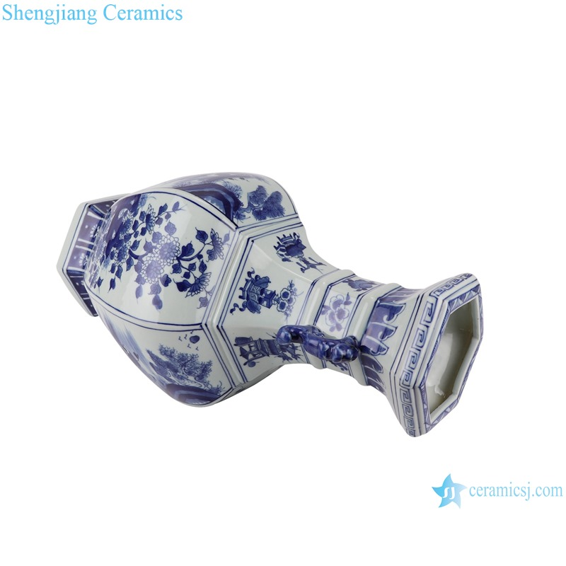 RYUK41 Blue and white flower ceramic vase with ears and octagons-profile