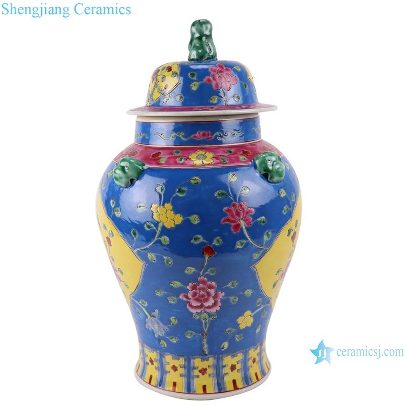 RYZG34-A Jingdezhen family rose painted jinlinlang wrapped zhilan ceramic general pot ceramic jars