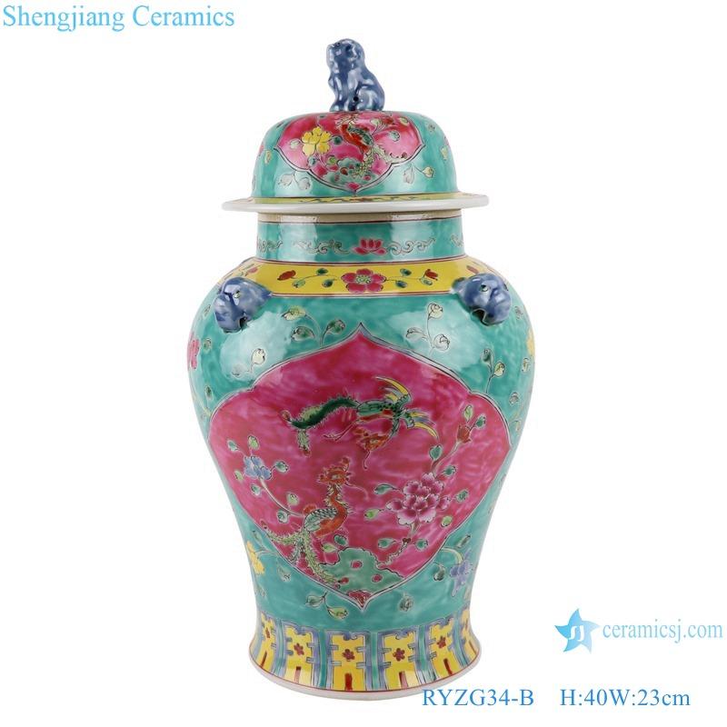 RYZG34-B_ Jingdezhen porcelain vase hand-painted engraving antique pastel general ceramic jar decoration