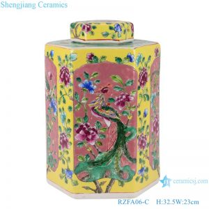 RZFA06-C_Jingdezhen family rose porcelain hand-painted vase antique general jar for home decor