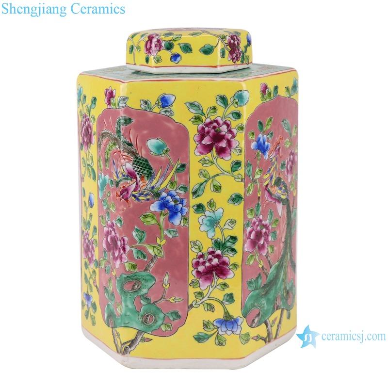 RZFA06-C_Jingdezhen family rose porcelain hand-painted vase antique general jar for home decor
