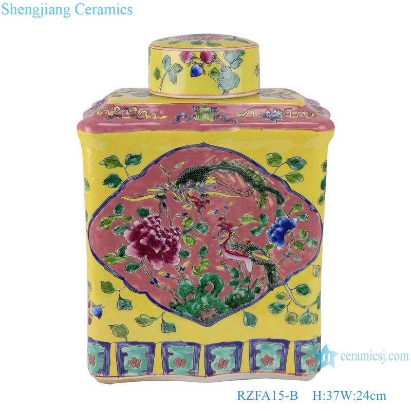RZFA15-B_ Jingdezhen porcelain vase hand-painted engraving antique pastel general ceramic jar decoration
