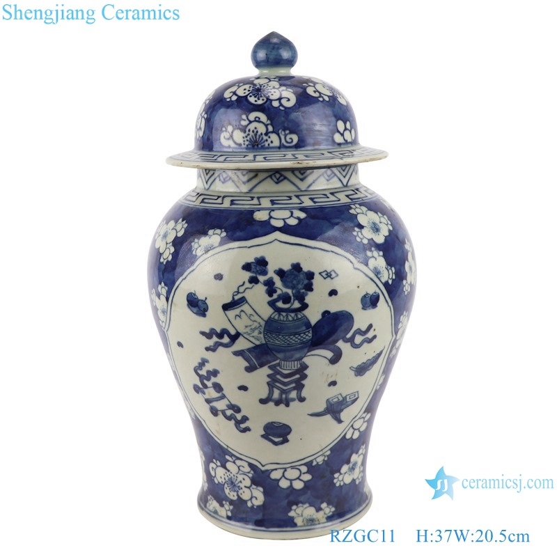 RZGC11_ late qing dynasty blue and white ice plum Windows antique porcelain ceramic ginger jars