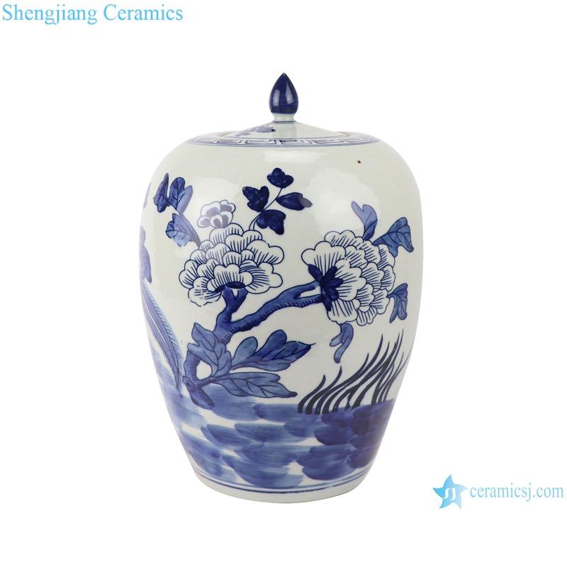 RZGC14-A Blue and white flower and bird design ceramic storage jar