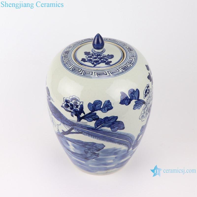 RZGC14-A Blue and white flower and bird design ceramic storage jar-profile