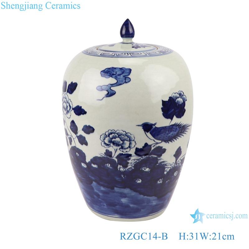 RZGC14-B Blue and white flower and bird pattern ceramic storage jar