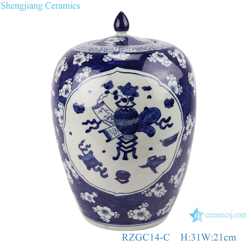 RZGC14-C Blue and white multi-pattern ceramic storage jar