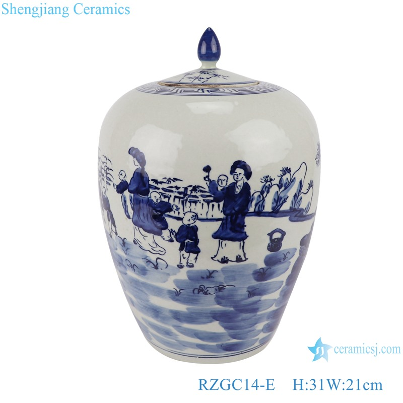 RZGC14-E Blue and white child playing multi-pattern ceramic storage jar