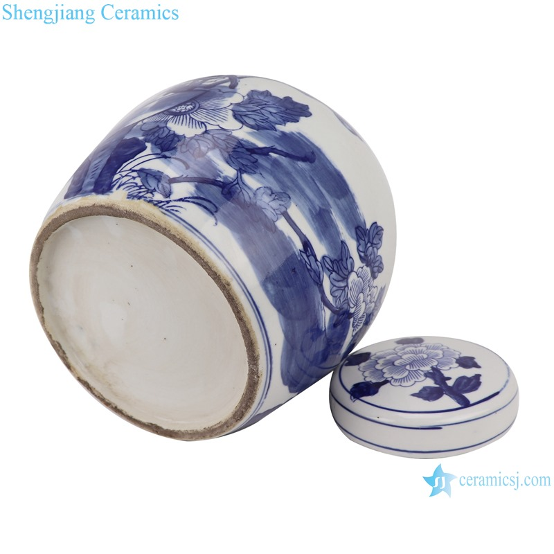 RZKT04-M Blue and white flower pattern porcelain storage pot with lid