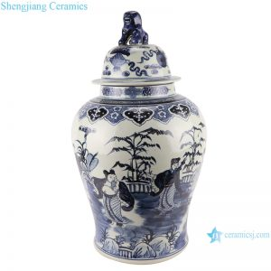 RZMA19-A_Qing Dynasty people kiln pure handmade blue and white double dragon porcelain ginger jars