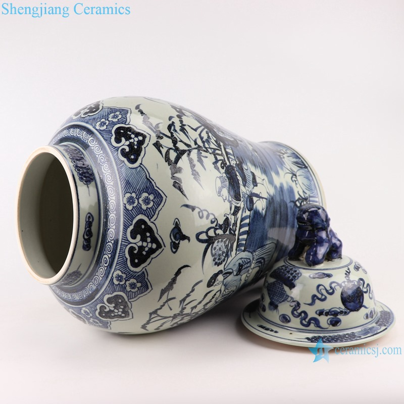 RZMA19-B_Qing Dynasty people kiln pure handmade blue and white double dragon porcelain ginger jars