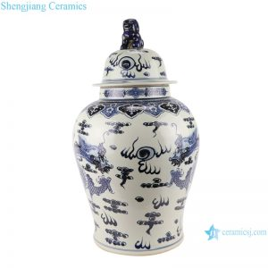 RZMA19-C Qing blue and white dragon wearing peony flower picture general pot antique goods make old antique porcelain