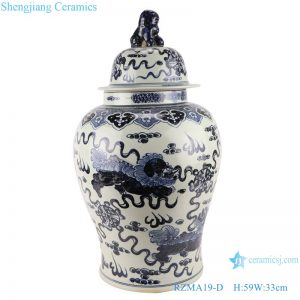 RZMA19-D_Qing Dynasty people kiln pure handmade blue and white double dragon ceramic jars with lids porcelain