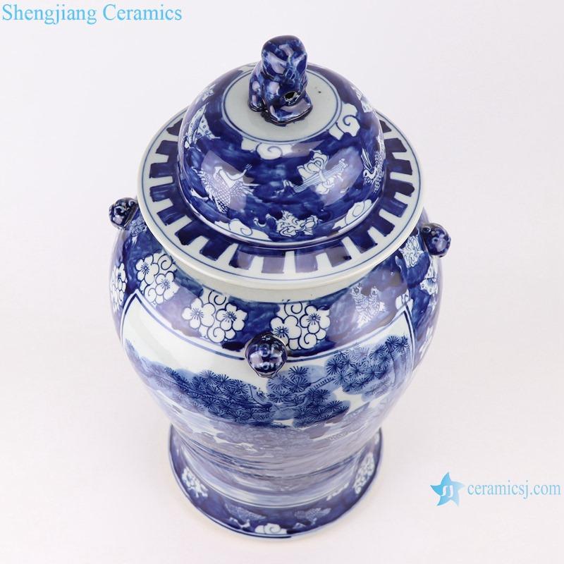 RZOT03-j Blue and white lion head phoenix porcelain ginger jar with lid-profile