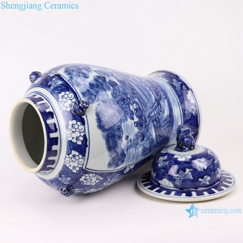 RZOT03-j Blue and white lion head phoenix porcelain ginger jar with lid